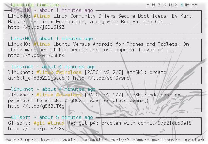 tirs —  консольный клиент для twitter/idenci.ca