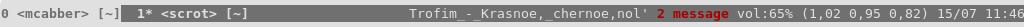 количество непрочитанных из mcabber в screen